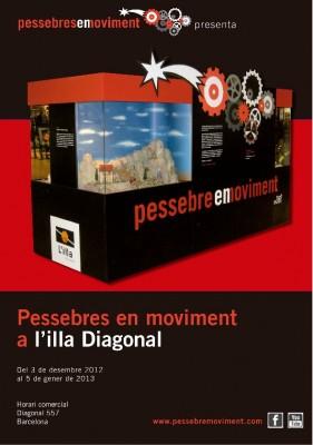 Cartell de l'exposició de Pessebres en moviment a L'illa Diagonal de Barcelona durant el nadal de l'any 2012