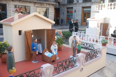 Image of Nativity scene in plaça Sant Jaume de Barcelona. Christmas 2013