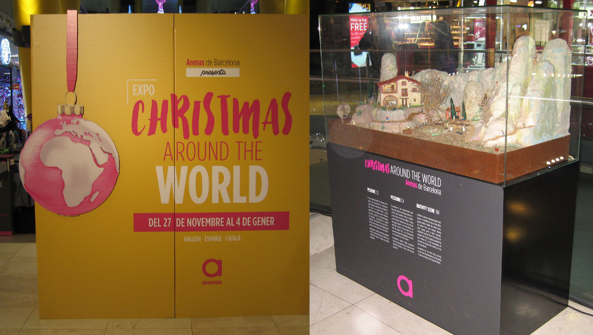 Imagen exposición pessebresmoviment. Christmas around the world en el centro comercial Las Arenas