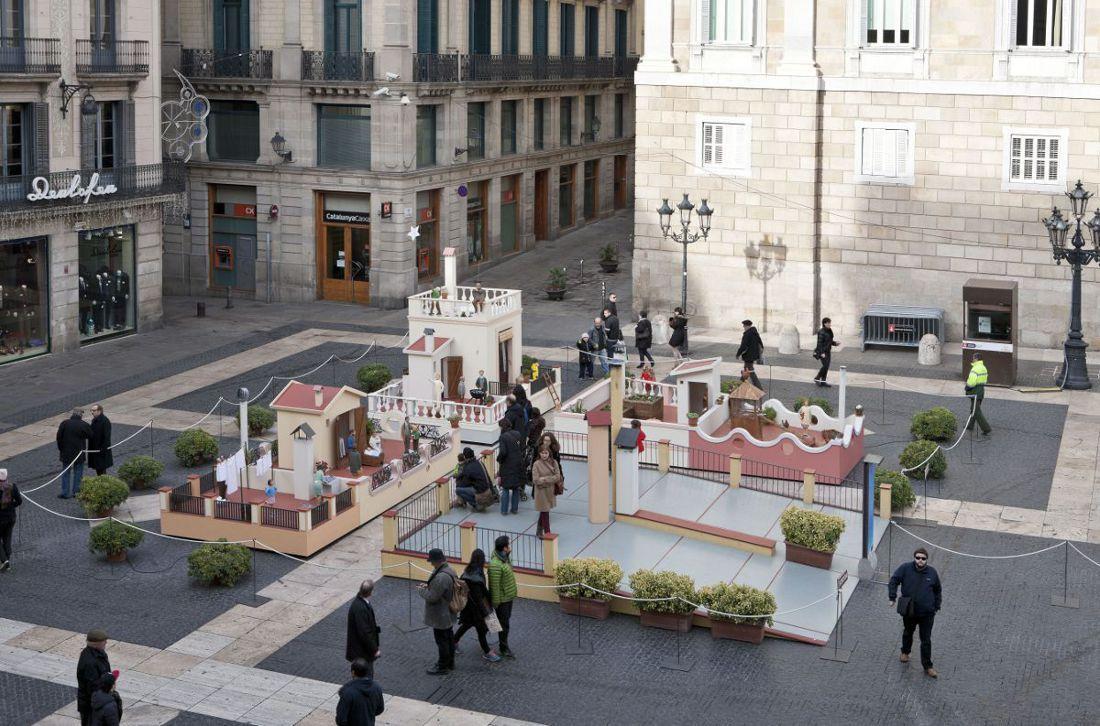 Pessebre plaça Sant Jaume 2013. Els terrats de Barcelona
